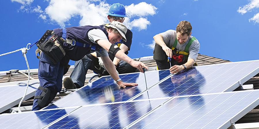 trabajadores paneles solares